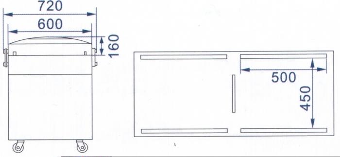 SELES DZ 500/2SB Tekerlekli (Çift Çene) Vakum Makinası ölçüler