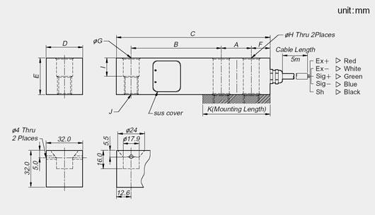 BSA Serisi Loadcell Teknik Çizim
